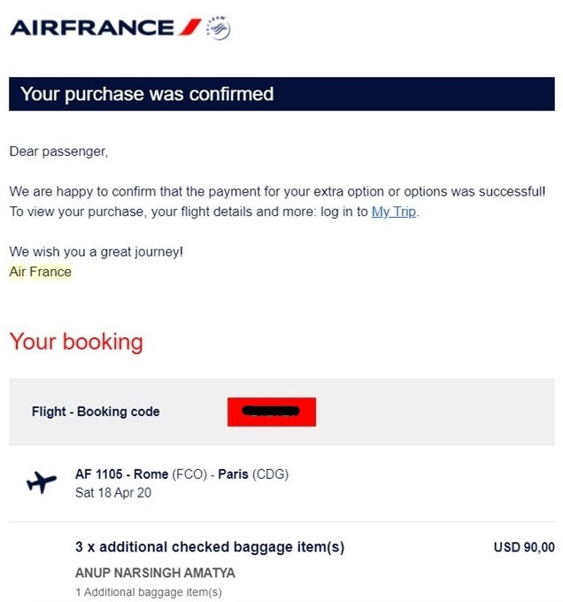 Air France Extra Baggage Charge Charge