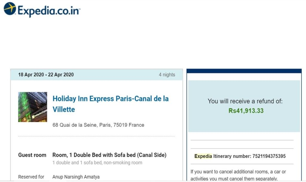 Paris Hotel Cancellation Refund