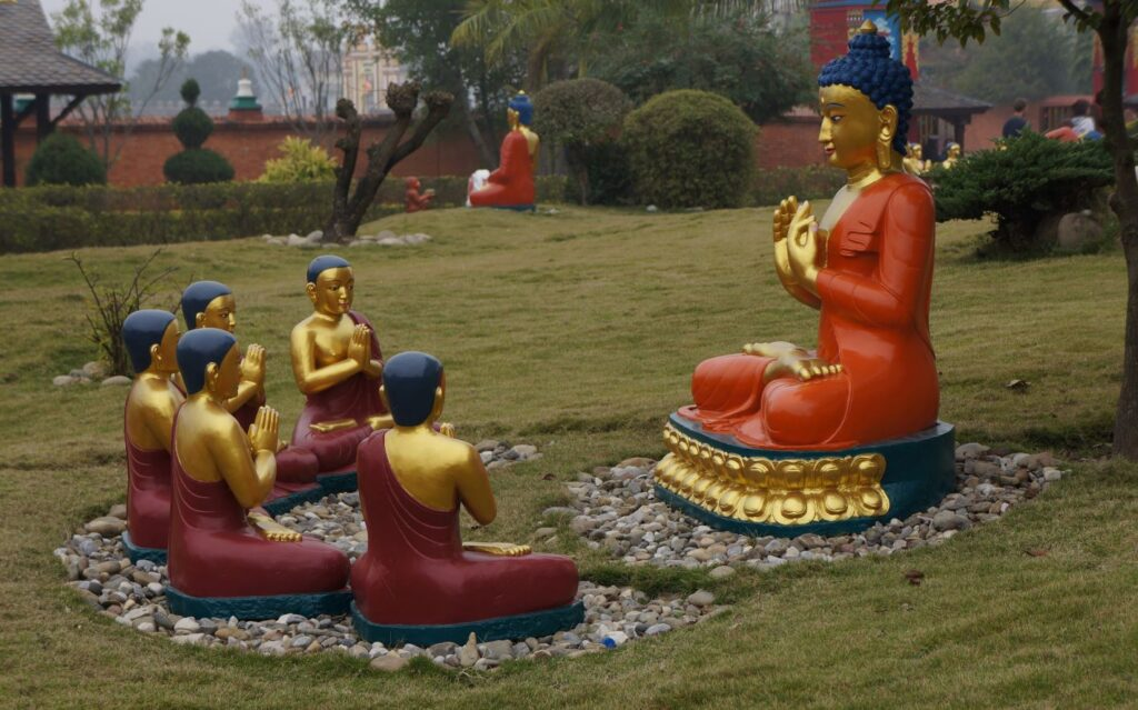 Gautama Buddha with disciples - Lumbini World Heritage Site Complex